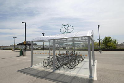 Milton GO station bicycle parking